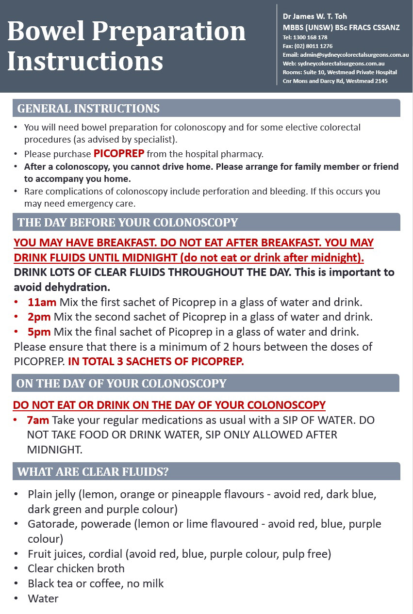 picoprep instructions for colonoscopy