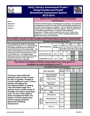fountas and pinnell instructional level chart