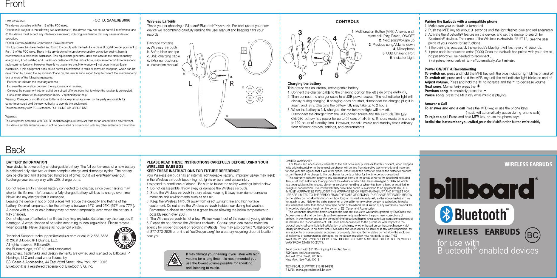 billboard wireless headphones instructions