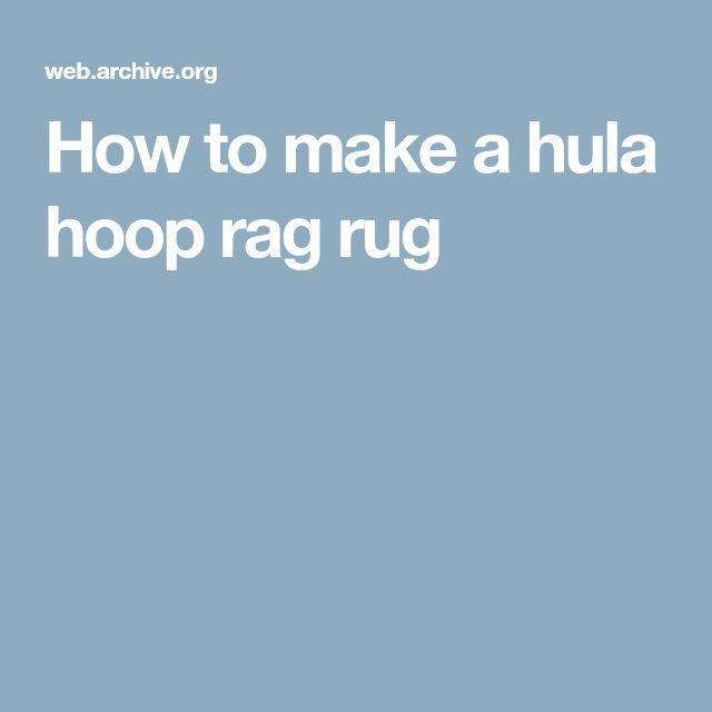 hula hoop rag rug instructions
