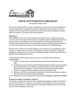 move out cleaning checklist and instruction sheet